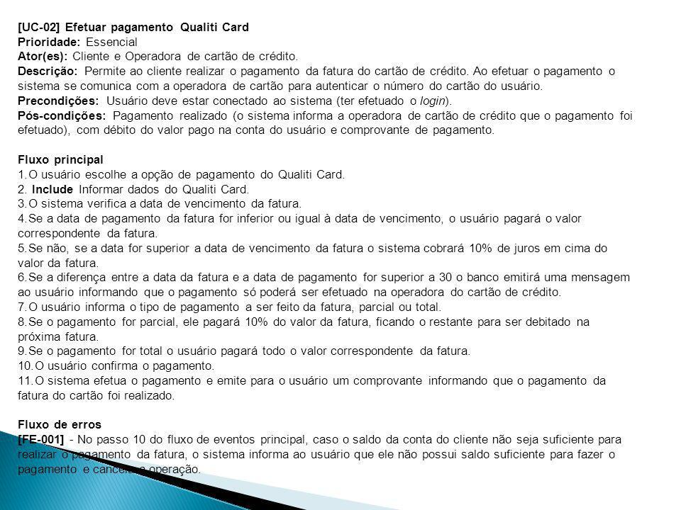 [UC-02] Efetuar pagamento Qualiti Card